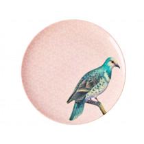 RICE Melamine Side Plate VINTAGE BIRD soft rose