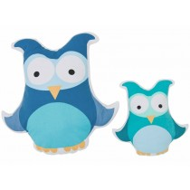 Sebra owl cushion in green-blue