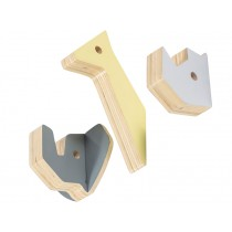 Sebra wooden wall hooks, rhino and friends