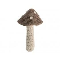Sebra: Crochet Rattle - Mushroom light brown