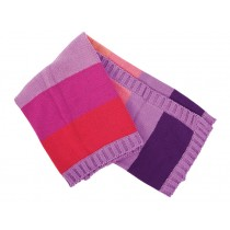Knitted blanket with purple and coral stripes by Sebra