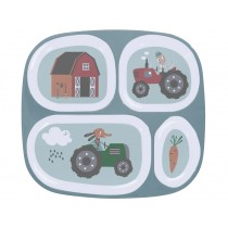 Sebra melamine 4 room plate farm boy