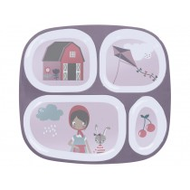 Sebra melamine 4 room plate farm girl