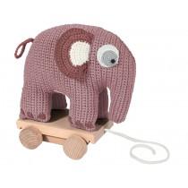 Sebra crochet pull-along toy elephant vintage rose
