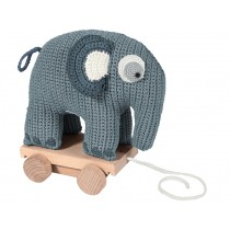 Sebra crochet pull-along toy elephant cloud blue