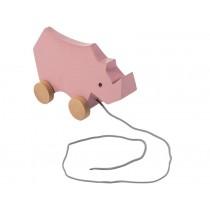 Sebra wooden pull-along toy rhino vintage rose