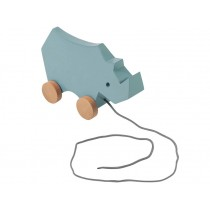Sebra wooden pull-along toy rhino cloud blue
