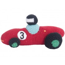 Crochet racing car rattle in red by Sebra