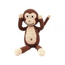 Sindibaba: Crochet Cuddly Toy Rattle - Monkey brown