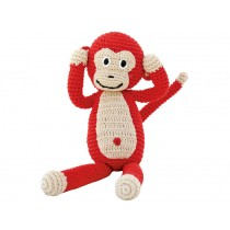 Sindibaba Crochet Cuddly Toy Rattle MONKEY red