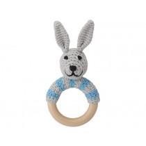 Sindibaba Rattle Ring Bunny BOBBY blue