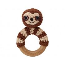 Sindibaba rattle ring SLOTH SLEEPY brown