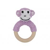 Sindibaba rattle ring MONKEY pink