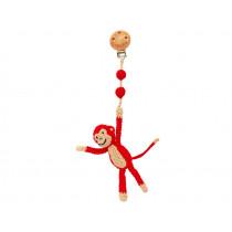 Sindibaba Pram Clip Crochet MONKEY red