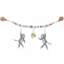 Sindibaba stroller chain monkeys bananas grey