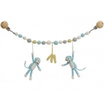Sindibaba stroller chain MONKEYS BLUE