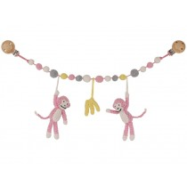 Sindibaba stroller chain MONKEYS PINK