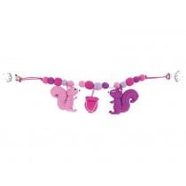 Sindibaba stroller chain squirrels pink