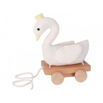 Sindibaba crochet pull-along toy SWAN WHITE