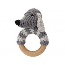 Sindibaba Rattle Ring DOG LUCKY grey