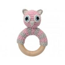 Sindibaba Rattle Ring OWL LUNA pink
