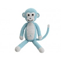 Sindibaba Crochet Cuddly Toy Rattle MONKEY BLUE