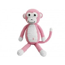 Sindibaba Crochet Cuddly Toy Rattle MONKEY PINK
