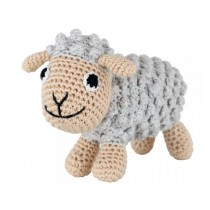 Sindibaba small Crochet Cuddly Toy Rattle SHEEP grey