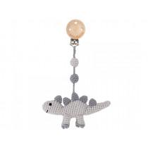 Sindibaba Crochet Pram Clip DINOSAUR grey