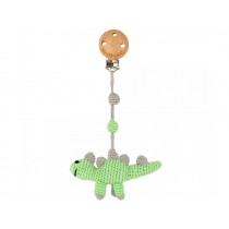 Sindibaba Crochet Pram Clip DINOSAUR green