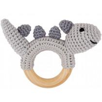 Sindibaba Rattle Ring DINOSAUR grey