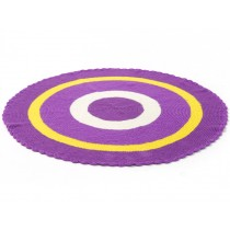 Round Smallstuff carpet in purple and yellow
