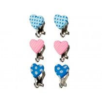 Souza Ear Clips HEARTS blue