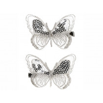 Souza 2 Hair Clips BUTTERFLY Melanie Silver