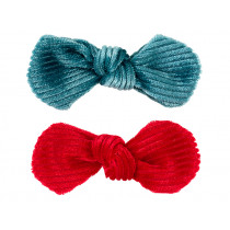 Souza 2 Bow Hair Clips EMERY red & blue