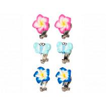 Souza Clip On Earring Set SARI Flowers & Butterflies