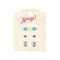 Souza 3 Pairs Earring Set HARPER blue