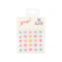 Souza Ear Clip Stickers HEARTS & FLOWERS pastel