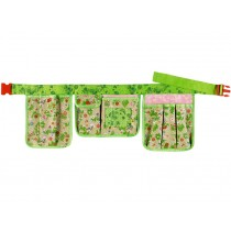 Garden belt with flowers and birds