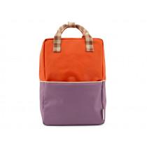 Sticky Lemon Backpack COLOUR BLOCK Orange & Plum Purple