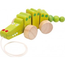 Wooden pull-along crocodile