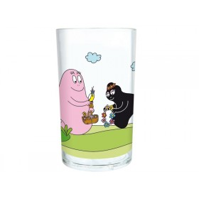 Clear tumbler with Barbapapa and Barbamama by Petit Jour