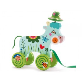 Pull along toy with Smily the cow by Djeco