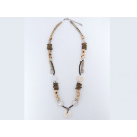 FIVA Necklace (Holz, Leder, Bein, Perlmutt)
