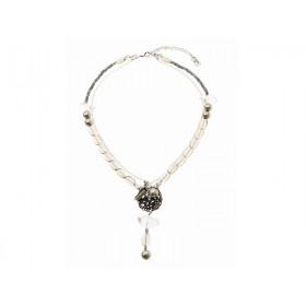FIVA necklace (Rauchquarz, Bergkristall, Horn, Silberkette)