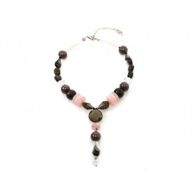 FIVA necklace (Quartz, Rauchquarz, Swarovski)