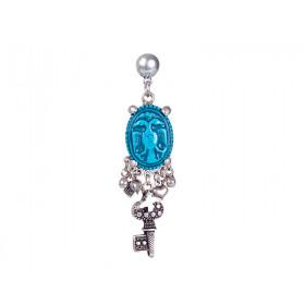 FIVA earrings (versilberte Elemente, Türkis)