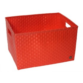 Open basket with open handles in red by Handed By