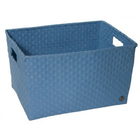 Open basket with open handles in stoneblue by Handed By