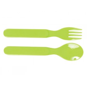 Baby melamine spoon and fork in solid green by RICE